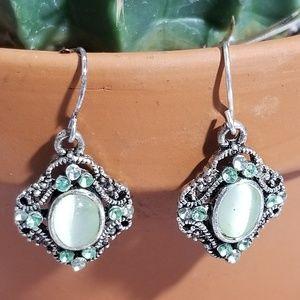 Silver Light Green Gems Earrings
